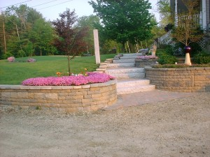 Walkway, Granite Steps, Granite Light Post, Retaining wall, Chester, NH