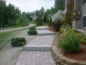 AFTER: Walkway, Granite Steps, Retaining Wall, Flower Beds - Chester, NH