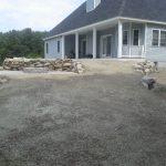 New Belgard Walkway, Patio, fire pit, rebuilt rock wall, hydro seeding and Drainage.