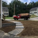 New Belgard Walkway and Retaining Wall, with granite steps. Opossum Drive.