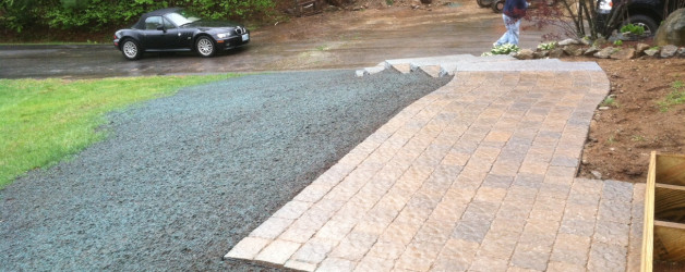 Front Walkway with Granite Steps and New Lawn in Deerfield NH
