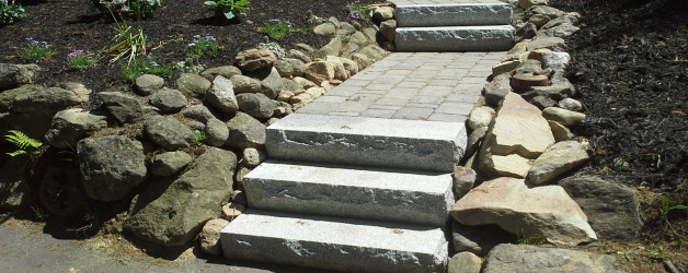 New Walkway with Granite Steps, New Patio, New Planter and Installation of Flora, Edging, Grading and Hydro-Seeding. Raymond, NH