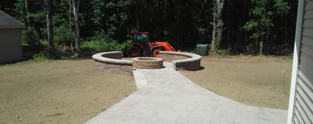 New Walkway, New Circle Wall, Brick Fire Pit, Brick Entry-way Step up. Raymond, NH