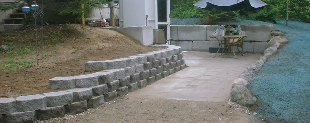 Small Retaining Wall and New Lawn in Ossipee, NH