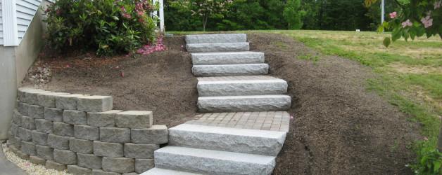 Walkway, Granite Steps and Brick Headwall in Kingston, NH